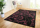 BLACK & LIGHT PURPLE MAUVE MODERN DAMASK FLOOR RUG - DISCOUNTED CLEARANCE