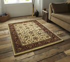 SMALL - EXTRA LARGE BEIGE & RED TRADITIONAL CLASSIC THICK  LUXURY WOOL-LOOK RUGS