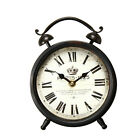 Adeco old World-Inspired Brown Iron Alarm Clock Style Wall Hanging Table Clock