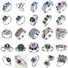 Charm Unisex 925 Silver Sterling Colorful Gemstone Rings Marriage Jewelry #6-11