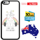 TPU Shockproof Bumper Case Cover White Unicorn Rainbow Star I don't Care Cute