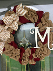 """All seasons Monogram Natural and Accent Burlap Wreath. Home Decor 18"""""""