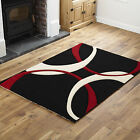 LARGE MEDIUM SMALL MODERN RUG CHEAP COST SOFT BEAT QUALITY BLACK RED RUNNER RUG