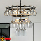 Modern Glass Wine Cup LED Chandeliers Ceiling Lamp Fixture Bar Hotel dining room