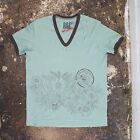 New Bent & Corrupt Mint Green V Neck T Shirt With Floral Print Size XL NWOT