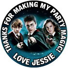 PERSONALISED HARRY POTTER  GLOSS BIRTHDAY PARTY LABELS,SWEET CONE SEALS 4 SIZES