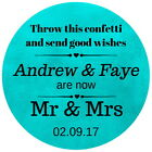 PERSONALISED GLOSS TEAL WEDDING CELEBRATION THANK YOU  STICKERS 100 SHADES