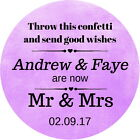 PERSONALISED GLOSS LILAC WEDDING CELEBRATION THANK YOU  STICKERS 100 SHADES