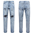 Men Slim Moto Biker Denim Jeans Skinny Frayed Pants Distressed Rip Trousers