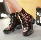 SH Women's Retro Graffiti Painting Ankle Boots Chunky Heel England Style Gothic