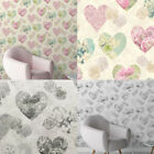 Fine Decor Floral Hearts Wallpaper Vintage Lace Roses Flowers 2 Colours