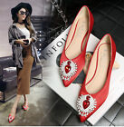 Red Rhinestone Heart Flats Balletic Pointed Toe Black Pink Satin Women Shoes