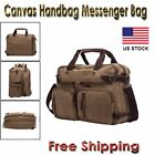 Men's Laptop Shoulder Messenger HandbagsTote Backack Briefcase Canvas Khaki Bag