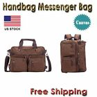 Men Laptop Shoulder Messenger HandbagsTote Backack Briefcase Canvas Bag Coffee