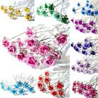 5 10 20pcs Rose Flower Crystal Wedding Party Bridal Prom Sta