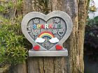 Personalised Heart Shaped Rainbow Bridge Pet Dog Cat Memorial Door with Paws