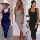 Women's Sexy Summer Evening Cocktail Party Short Sleeve Bodycon Midi Dress ⒈⒊⒍||
