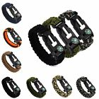 Survival Bracelet Rope Paracord Flint Fire Starter Compass Whistle Wrist Outdoor