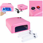 36W UV Lamp Light Gel Curing Nail Dryer Polish Gelish Curing Timer + 4x9W Lamps