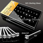 4pcs Clear Nose Ring Sterling Silver Studs Bone body jewelry 20ga