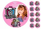 """MONSTER HIGH OWN PHOTO 7.5"""" ROUND EDIBLE BIRTHDAY CAKE TOPPER + CUPCAKE TOPPERS"""