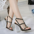 Punk Rock Rivets Sandals Chunky Heels High Heels Celebrity Loving Women Shoes