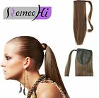 100% Human Hair Straight Wrap Around Ponytail Extensions Clip in/on Ponytail 80g
