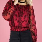 Romantic Crimson Floral Top NEW Style State Womens Crop Blouse Size 8 10 12 14