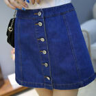 Women A Line Denim Skirt High Waist Skirt Front Button Women Jeans Mini Skirt