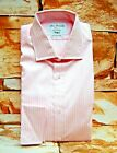 T.M LEWIN JOHN FRANCOMB PINK WHITE STRIPED FULLY FITTED COTTON SHIRT 14 1/2""