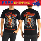 AU Men T-shirt Muay Thai MMA Kick Boxing Red Short Fighter Cotton Tee Size S-XL