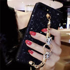 Cute Bling Giltter Diamond Leopard Chain Strap Case Cover for iPhone 8 X 7 Plus