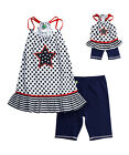 Girl 6 7 and Doll Matching Patriotic 4th July Shorts Tank Outfit American Girl