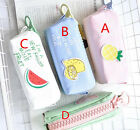Student Canvas Pencil Pen Case Box Cosmetic Makeup Pouch Brush Holder Bag