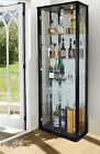 ORNAMENTS DISPLAY LOCKABLE DOUBLE GLASS DISPLAY CABINETS VARIOUS COLOURS