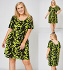 Black and Neon Abstract Pattern Short Sleeves Plus Size 16-26 Casual Day Dress