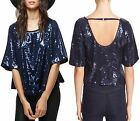 Free People OB551672 Night Fever Navy Sparkle Sequin Tee Blouse Top - $98