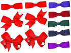 3 Pairs Girls Kids Small Hair Bows Grosgrain Ribbon Clips School Uniform Colours