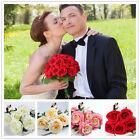 1PCS Artificial Rose Flower Leaf Silk Bridal Bouquet Wedding Party Home Decor