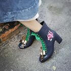 Womens Genuine Leather Ankle Boots Bowknots Round Toe Lace Up Embroidery Shoes