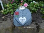 Mum Memorial Heart and Flowervase Holder with Heart Shaped Plaque and Rose