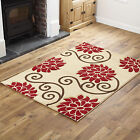 QUALITY BEIGE RED LARGE SMALL MODERN RUG FLOWERY DESIGN RUG & RUNNER CHEAP COST