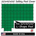 22'x42'x32' Ratchet-Lock Safety Cover Tarp for 20'x40'x30' Right L-Shape Pool