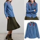 Denim Blue Shirt Ladies Button Down Collar Long Sleeve Floral Embroidery Top