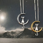 Womens Lovely Cat On The Moon Charm Pendant Necklace Silver Chain Jewelry