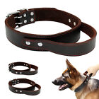 Handcraft Leather Training Dog Collar with Handle for Medium Large Dogs  M L XL