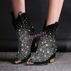 Womens Pointed Toe Rhinestone Sexy Bing Bing Ankle Boots Leather Shoes Europe