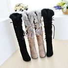 Lady's winter Faux Suede Rabbit Fur Trim High Heels Winter Knee High Boots Shoes