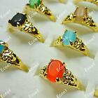 130pcs Opal Gold Plated Rings Wholesale Mixed Bulk Jewelry Alloy Free Shipping