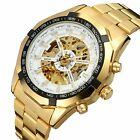 NEW COOL Luxury Men's Skeleton Automatic Mechanical Wrist watch Hollow Gold face